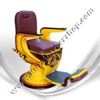 Kursi Barber Dewasa Non Hidrolik PM88 Marun Kuning