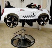 Kursi Barber Anak Mobilan Mini Cooper Putih Strip Merah