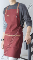 Apron Stylist Canvas & Synthetic Leather Merah Marun